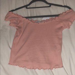 Off-The-Shoulder Pink Crop Top